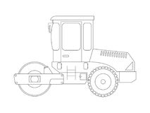 Construction machine. Asphalt compactor. Coloring pages for children. Vector illustration Stock Photos