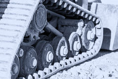 Construction machine track steel steel chains. Tank wheels excav Royalty Free Stock Photography