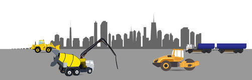Construction Machinery in the City. Vector Royalty Free Stock Photos
