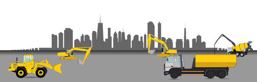 Construction Machinery in the City. Vector Royalty Free Stock Photography