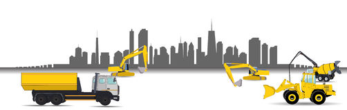 Construction Machinery in the City. Vector Stock Photo