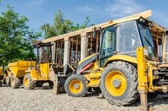 Construction machinery in a construction site Stock Photography