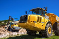Construction machinery for crushing stone Stock Image