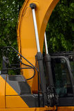 Construction machinery. Detailed view of heavy vehicle, of the building dozer or other construction machinery Stock Photo