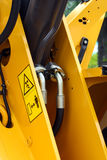 Construction machinery. Detailed view of heavy vehicle, of the building dozer or other construction machinery Royalty Free Stock Images