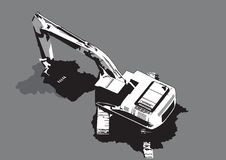 Construction machinery digging vector Royalty Free Stock Images