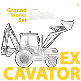 Construction machinery, excavator. Typography set of ground works machines vehicles. Royalty Free Stock Photos