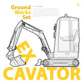 Construction machinery, excavator. Typography set of ground works machines vehicles. Stock Photography