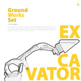 Construction machinery, excavator. Typography set of ground works machines vehicles. Stock Photos