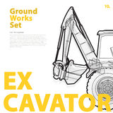 Construction machinery, excavator. Typography set of ground works machines vehicles. Stock Photo