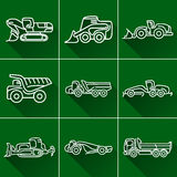 Construction machinery flat line icon set. Heavy equipment engineering machinery construction tractor. Flat line icon set with shadow Stock Images