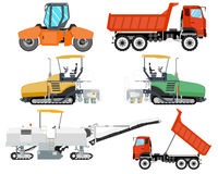 Construction machinery. Heavy machinery for construction and repair of roads. Roadwork. Vector illustration Stock Photo