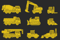Construction machinery icons. Stock Photography