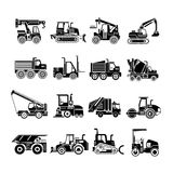 Construction machinery icons, truck icons Stock Images