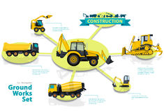 Construction machinery infographic big set of ground works machines. Royalty Free Stock Photography