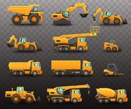 Construction machinery set stock photography