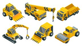 Free Construction Machinery Isometric Set. Heavy Transportation. Icons Collection Representing Heavy Mining And Road Industry Stock Photo - 223114870