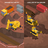 Construction Machinery Isometric Vertical Banners Set Royalty Free Stock Photo