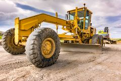 Construction machinery for a road in Spain stock photos