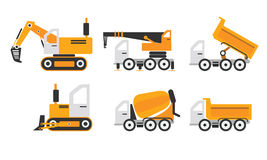 Construction machinery set yellow color Stock Photo