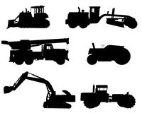 Construction machinery silhouettes Stock Photos