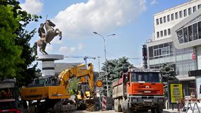Construction machinery at Skopje stock video