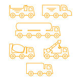 Construction machinery and special equipments silhouettes set. Royalty Free Stock Photography