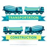Construction machinery symbol set. Blue yellow ground works. Machine vehicles. Construction machinery set. Blue ground works with sign. Machine vehicles, truck Stock Photo