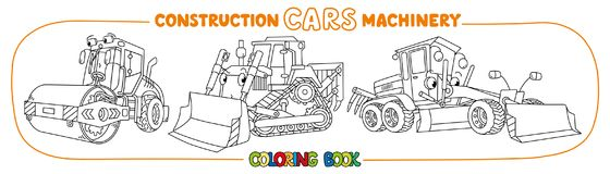 Construction machinery transport coloring book vector illustration