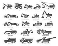 Construction machinery vector icons set Stock Photos