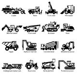 Construction Machines Black White Icons Set. Construction machines and technics black white icons set with crane hammer and tipper flat isolated vector Royalty Free Stock Images