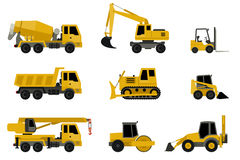 Construction machines icons. Construction machines in flat style. Vector icons of building machinery Royalty Free Stock Photo