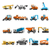 Construction Machines Icons Set. Construction machines and engineering icons set with excavator and roller flat  vector illustration Royalty Free Stock Photo