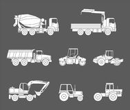 Construction machines icons set, Silhouette. Construction machines icons. Silhouette. Vector icons of building machinery Stock Image