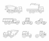 Construction machines icons set, thin line style Royalty Free Stock Images