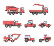 Red Construction machines icons set Stock Photos