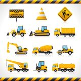 Construction Machines Set. Construction machines decorative icons set with bulldozer excavator loader isolated vector illustration Royalty Free Stock Photo