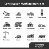 Construction machines set of flat icons. This is a set of vector icons for websites and electronic applications. These icons have a size of 48 by 48 pixels Stock Image