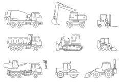 Construction machines thin icons. Stock Photo