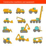 Construction machines thin icons. Vector line  of building machinery. Stock Photography