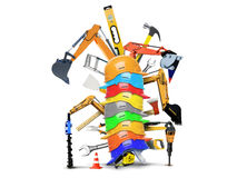 Construction machines and tools stock illustration
