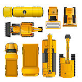 Construction Machines Top View. Set of yellow realistic construction machinery  top view   illustration Royalty Free Stock Photography