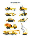 Construction machines, trucks, vehicles for transportation, asphalt, concrete mixing, crane. Royalty Free Stock Photography
