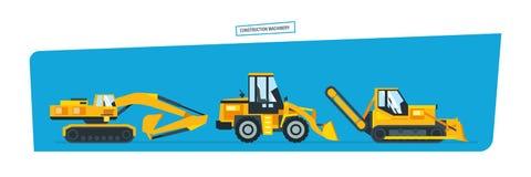 Construction machines, trucks, vehicles for transportation, asphalt. Royalty Free Stock Photos