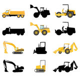 Construction machines vector. Set of construction machines vector Royalty Free Stock Photo