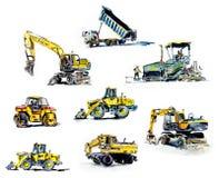 Construction machines. Watercolor hand drawn illustration stock illustration