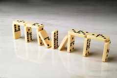 Construction made with dominoes Stock Images