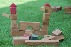 Construction made of wooden blocks Stock Photography