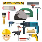 Construction man and building tools carpenter industry worker equipment vector illustration. Construction man and building tools vector set. Carpenter industry royalty free illustration