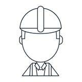 Construction man engineer thin line vector illustration